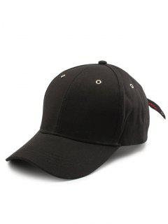 Letters Embroidery Long Tail Baseball Dad's Hat - Black