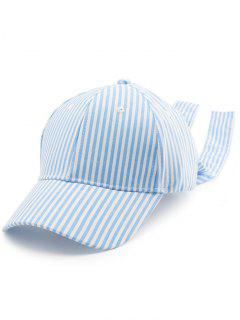 Striped Bowknot Long Tail Baseball Hat - Pinkish Blue