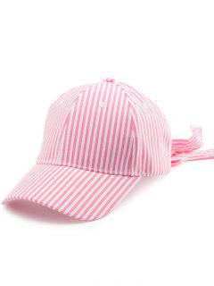 Striped Bowknot Long Tail Baseball Hat - Pink