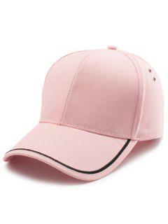 Plain Line Embroidery Baseball Hat - Pink