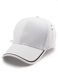Plain Line Embroidery Baseball Hat - White