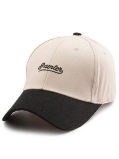 Two Tone Letters Embroidery Baseball Hat - Off-white