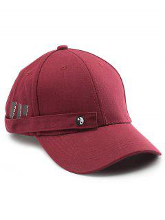 Tiny Rectangle Eight Diagrams Embellished Baseball Hat - Wine Red
