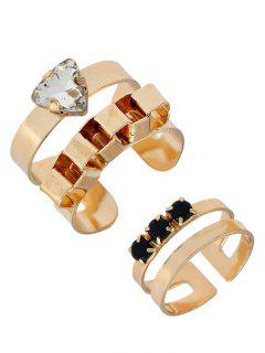 Rhinestone Triangle Alloy Cuff Ring Set - Golden