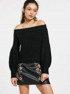 Lantern Sleeve Off The Shoulder Sweater - Black