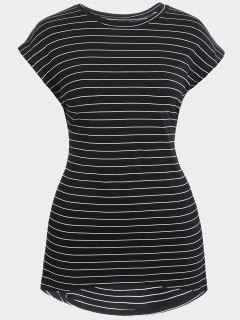 Striped High Low Plus Size Dress - Black 3xl
