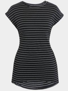 Striped High Low Plus Size Dress - Black 3xl
