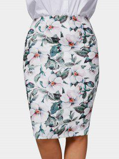 Plus Size Floral Pencil Skirt - Multicolor 3xl