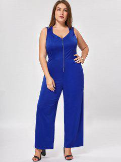 Plus Size Zip Up Wide Leg Jumpsuit - Blue 4xl