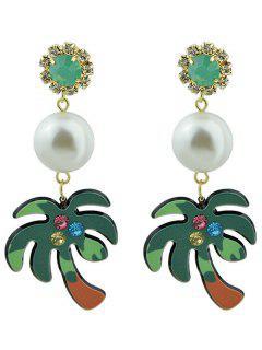 Faux Pearl Rhinestoned Coconut Tree Earrings - Green