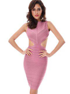 Halter Open Back Bodycon Bandage Dress - Pink S