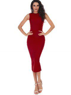 Hollow Out Sleeveless Slit Bandage Dress - Red L