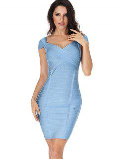 Sweetheart Neck Cut Out Bandage Dress - Sky Blue L