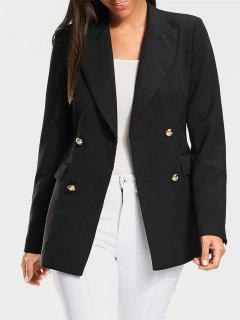 Casual Double Breasted Plain Blazer - Black Xl