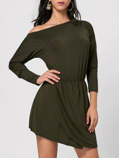 Skew Neck Asymmetrical Mini Dress - Army Green Xl