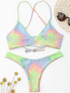 Krawattenfärbung Geflochtene Criss Cross Bikini Set - Hellgelb S