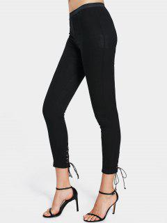 High Waisted Lace Up Leggings - Black L
