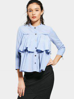 Loose Button Down Flounces Shirt - Light Blue L