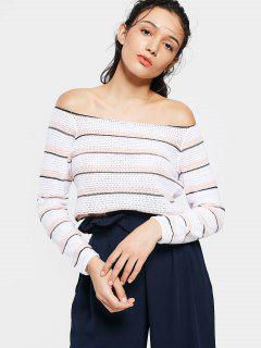 Cropped Cut Out Off Shoulder Knitwear - Stripe S