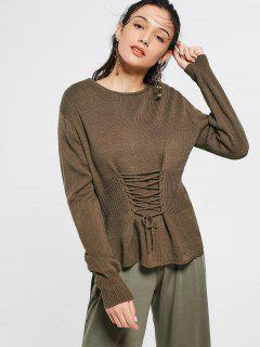 Lace Up Langarm Pullover - Kafee
