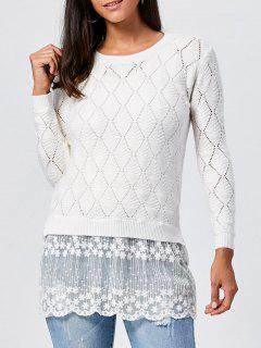 Lace Panel Hollow Out Argyle Ribbed Pullover Sweater - White M