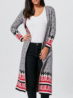 Geometric Slit Open Front Longline Graphic Cardigan - Gray 2xl