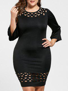 Plus Size Openwork Insert Fitted Dress - Black 5xl