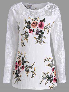 Plus Size Lace Panel Floral Print Top - White 5xl