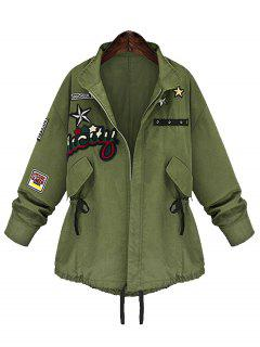 Patched Zip Up Plus Size Coat - Army Green 5xl