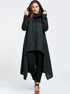 Plus Size Funnel Collar Maxi Asymmetric Hoodie - Black 4xl