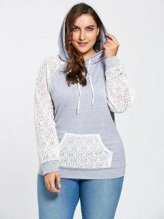 Plus Size Lace Raglan Sleeve Pocket Hoodie - Gray 5xl