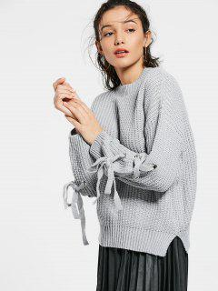 Drop Shoulder Lace Up Sweater - Gray