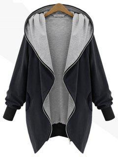 Zip Up Plus Size Hooded Coat - Black 5xl