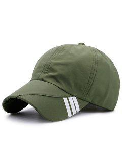 Diagonal Stripe Embellished Baseball Hat - Army Green