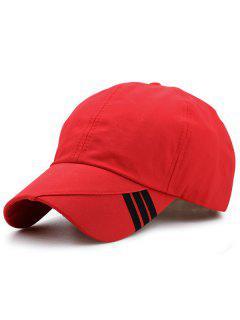 Diagonal Stripe Embellished Baseball Hat - Red