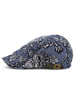 Vintage Floral Pattern Newsboy Hat - Blue