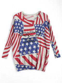 American Flag Plus Size Patriotic Knit Sweater - Rouge