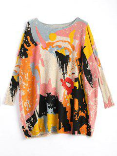 Plus Size Funny Graphic Long Sweater - Apricot