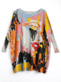 Plus Size Funny Graphic Long Sweater - Light Gray