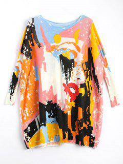 Plus Size Funny Graphic Long Sweater - Off-white