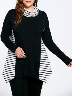 Stripe Panel Plus Size Turtleneck Camiseta Asimétrica - 5xl