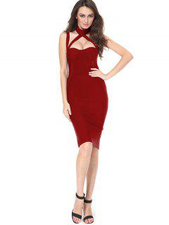 Cut Out Back Slit Fitted Dress - Red L