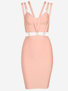 Zippered Cut Out Fitted Dress - Orangepink L