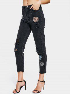 Destroyed Rose Embroidered High Waisted Jeans - Black 36