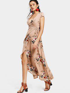 Floral Asymmetrical Wrap Maxi Dress - Floral L