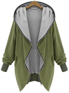 Zip Up Plus Size Hooded Coat - Army Green Xl