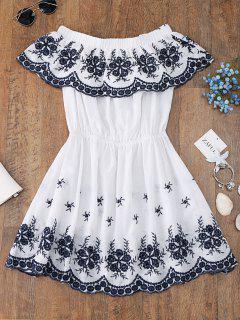 Vestido Largo Con Hombros Descubiertos Bordados - Blanco L
