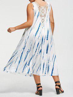 Plus Size Tie-Dyed Ärmelloses Maxi Kleid - Weiß 5xl