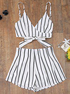 Striped Cami Wrap Top And Shorts - White L