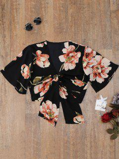 Knotted Flower Cover Up Top - Black S